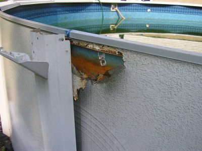 how to fix rusty above gorund pool walls