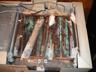 Corroded Pool Heater Exchanger
