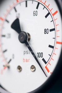 a pressure gauge showing high pressure
