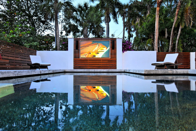 Contemporary Pool With TV