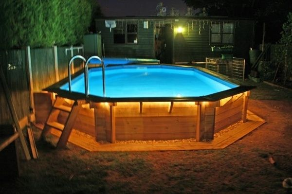 above ground pool deck coping nighttime