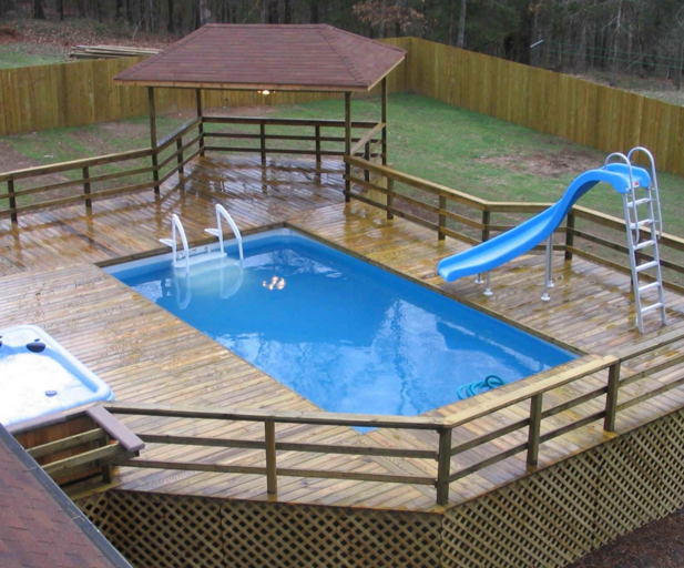 How to build a deck next to an above ground pool for Deck from house to above ground pool