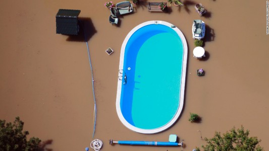 above ground pool in flood