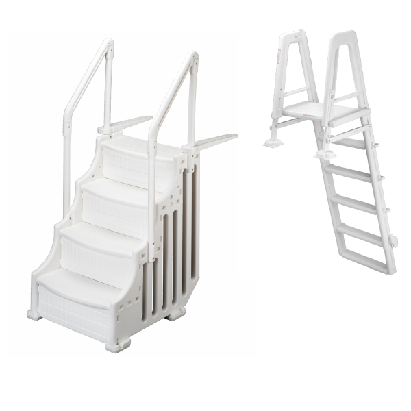 ladder on the outside and steps on the inside above ground pool - Above Ground Pool Outside Steps