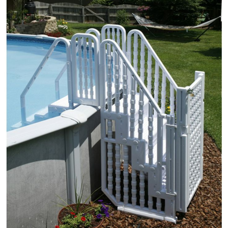Choosing a ladder or steps for an above ground pool for Above ground pool ladder ideas