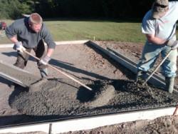 pour concrete to deter moles