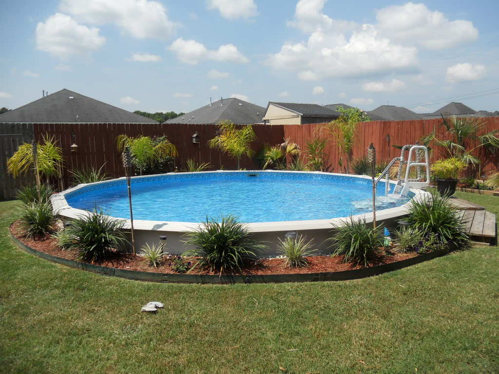 How to landscape around an above ground pool for Pool landscaping
