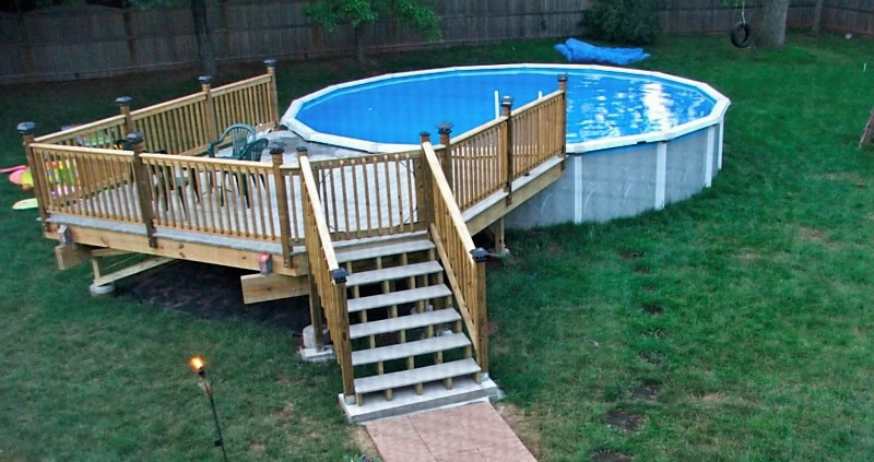Above ground pool with deck near me above ground pool deck for Inground pool dealers near me