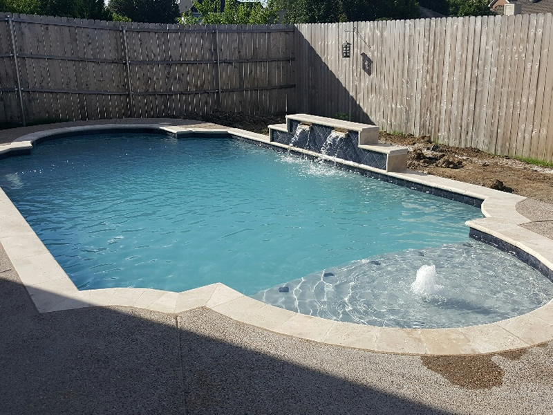 mansfield tx swimming pool - Rectangle Pool With Water Feature