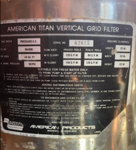Pool Filter Information Tag